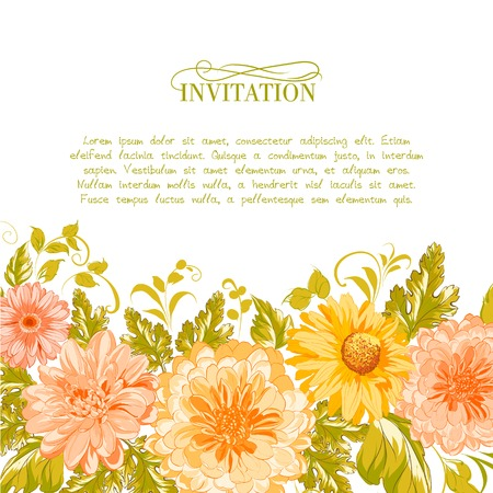 Invitation card with flowers. Vector illustration. Vector
