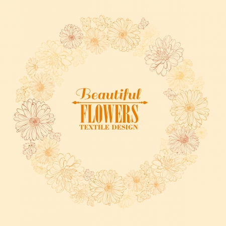 Wreath of beautiful chrystant flowers, isolated on biege. Vector illustration. Vector