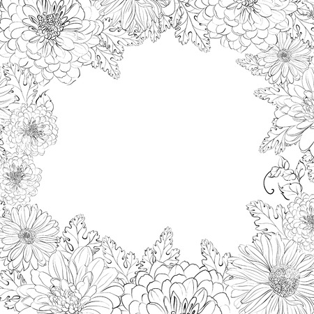 biege: Frame of beautiful chrystant flowers, isolated on biege. Vector illustration.
