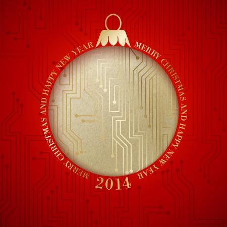 circuitry: Microprocessor circuitry christmas design. Vector illustration. Illustration