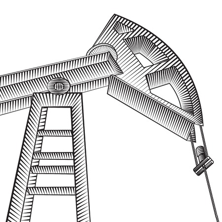 derrick: Oil pump jack silhouette design. Vector illustration.