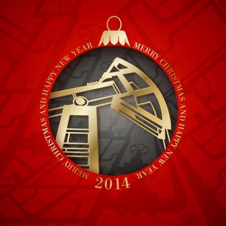 gold mining: Oil industry christmas design. Vector illustration.
