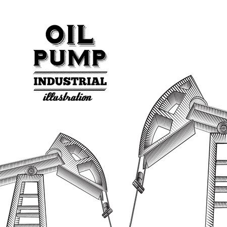 yacimiento petrolero: La bomba de aceite diseño de la silueta del gato. Ilustración del vector. Vectores