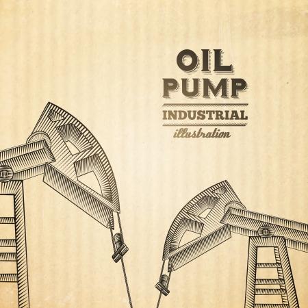 oilfield: Oil pump jack silhouette design. Vector illustration.