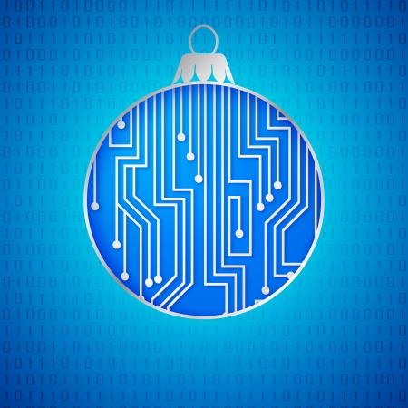 microprocessor: Microprocessor circuitry christmas design. Vector illustration. Illustration
