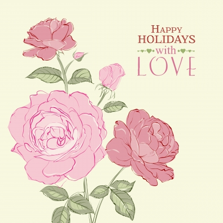 Invitation card with a roses. Vector illustration. Vector