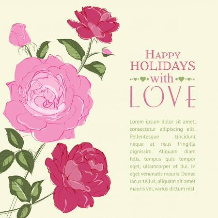 Invitation card with a roses. Vector illustration. Stock Vector - 24055840