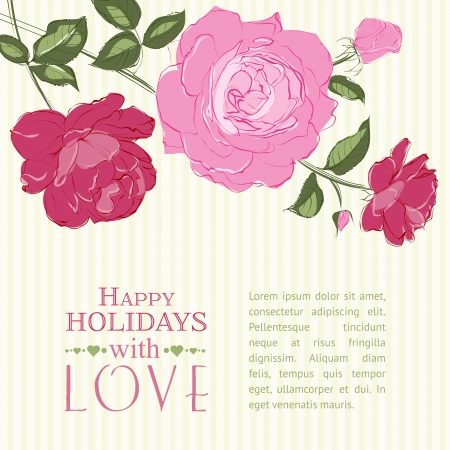 Invitation card with a roses. Vector illustration.