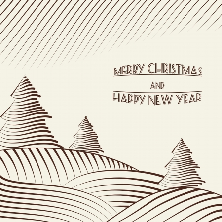 wintering: Engraving of Christmas trees on the hills. Vector illustration.