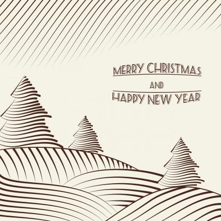 hillock: Grabado de �rboles de navidad en las colinas. Ilustraci�n del vector.
