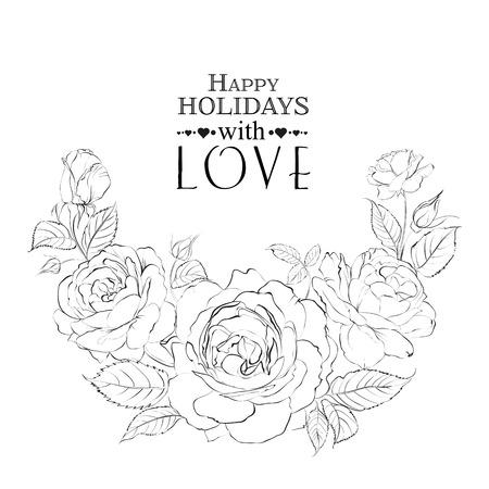 Hand drawn roses. Vector