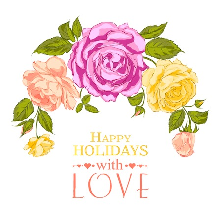 Rose garland in holiday. Vector illustration. Vector