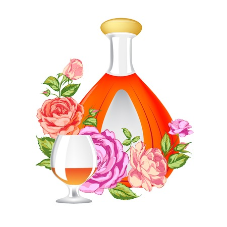 whisky bottle: Rose and Cognac abstraction. Vector illustration.