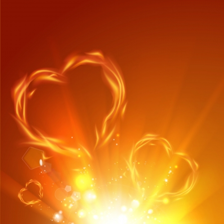 heart heat: Fire love hearts. Vector illustration.