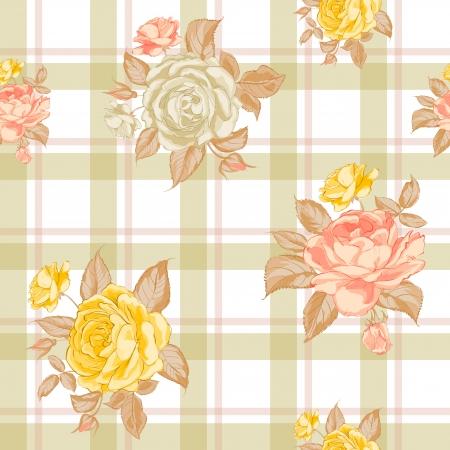 romanticismo: Reticolo senza giunte con le rose. Illustrazione di vettore.
