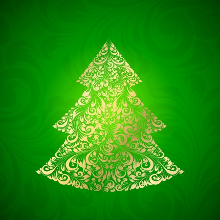 Fir tree made of gzhel. Vector illustration. Vector