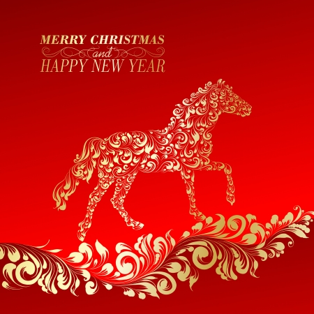 year curve: Christmas Greeting Card. Vintage card with horse. Vector illustration.