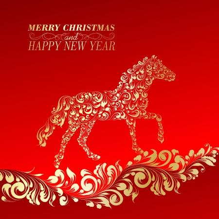 verschnörkelt: Weihnachtsgrußkarte. Vintage-Karte mit Pferd. Vektor-Illustration. Illustration