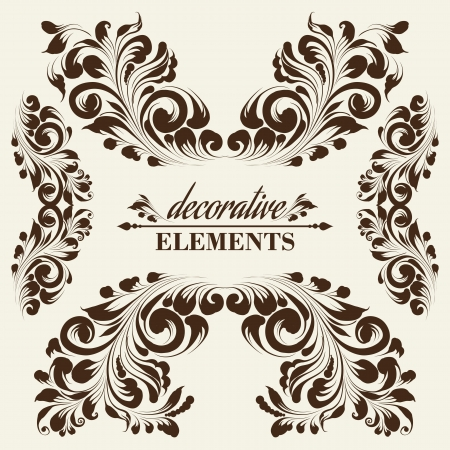 Vintage floral elements. Card with frames for your desing. Vector illustration. Vector
