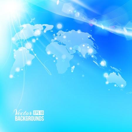 transnational: Blue vivid image of globe.  Illustration