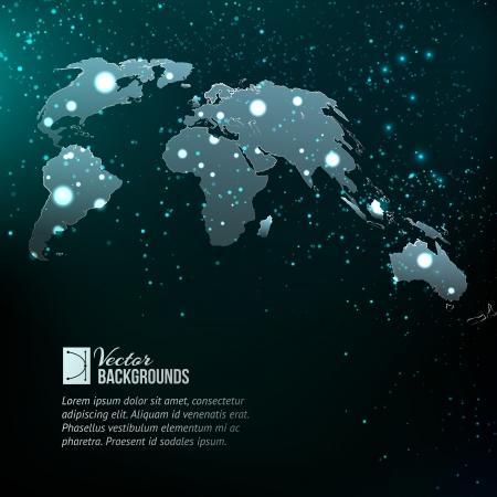 transnational: World map over dark background.  Illustration