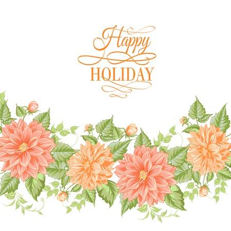 Chrysanthemum holiday card illustration. Vector