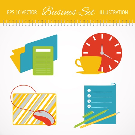 Business flat icons set. Vector illustration. Vector