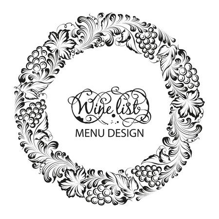 vine and leaves of vine: Menu design wine list with radial frame. Vector illustration.