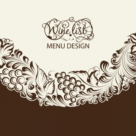rosette: Menu design wine list with wave line. Vector illustration. Illustration