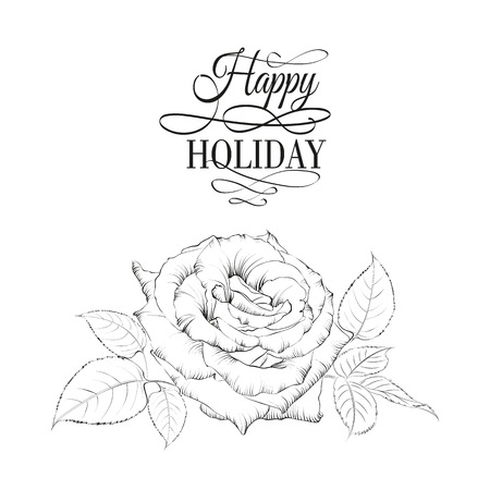 Happy holiday valntines card with single rose. Vector illustration.