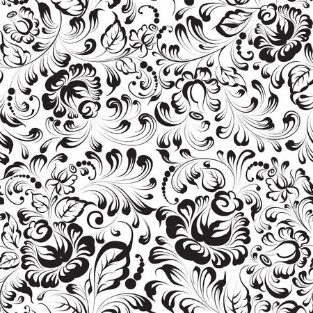 pattern sans soudure: motif floral sur fond bleu vecteur