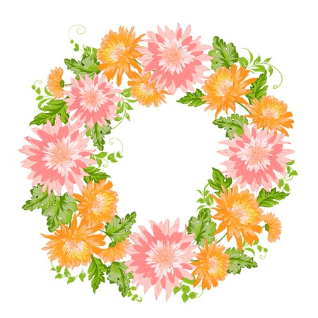 Chrysanthemum garland composition.  Vector illustration. Vector