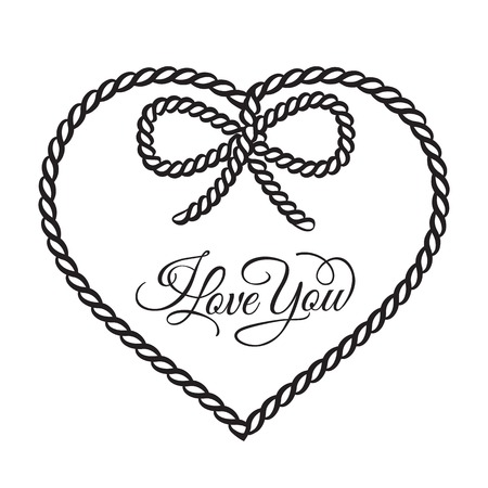 knoop: I love you - kaart. Vector illustratie. Stock Illustratie