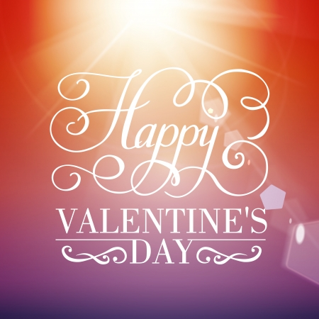 Happy Valentines day typographical background with blurred bokeh lights. Vector illustration.