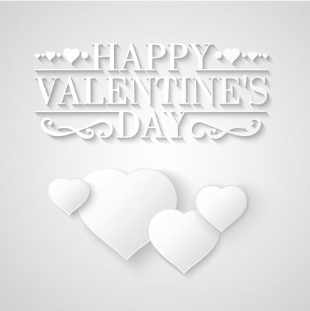 happy valentines day: White heart over white background. Vector illustration. Illustration