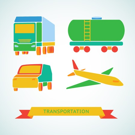 Traveling and transport flat icons. Vector illustration. Vector