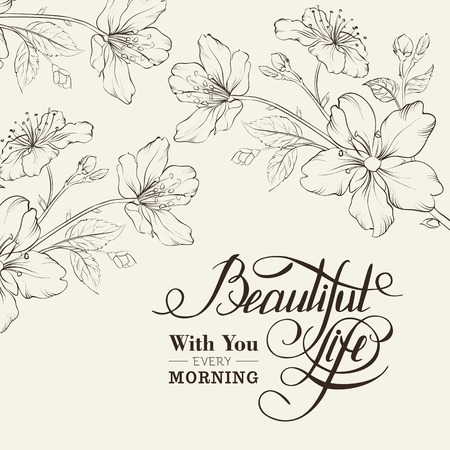 Calligraphy cherry blossom. Beautiful life. Vector illustration. Vector