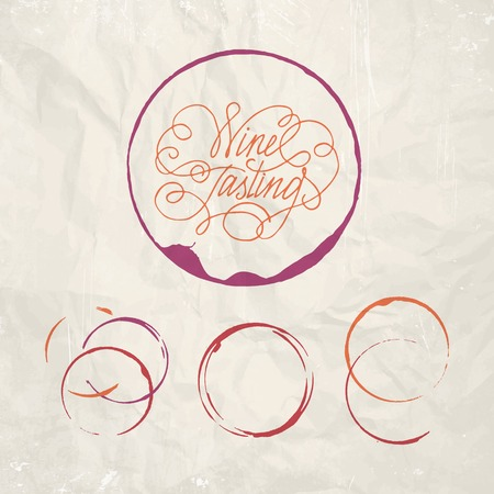 Red wine drops over text paper background. Vector Illustration. Vector