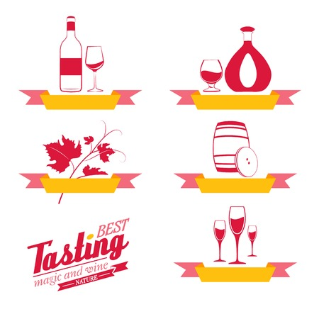 Labels set of drinks for restaurant and cafe. Vector Illustration. Vector