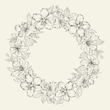 Floral wreath - wedding design. Vector illustration. Vector