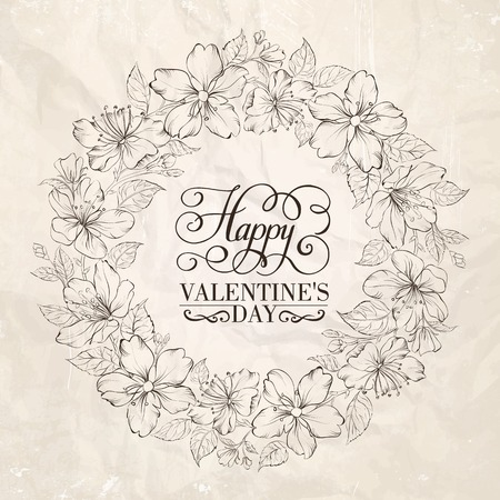 Floral wreath - Valentine design. Vector illustration. Vector