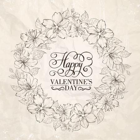 apple blossom: Floral wreath - Valentine design. Vector illustration.