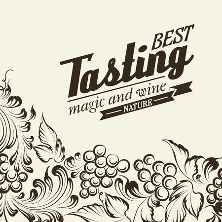 wine label design: Grapes design for wine menu. Vector illustration.