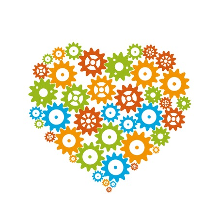 Happy Valentine's gear heart. Vector Illustration. Vector