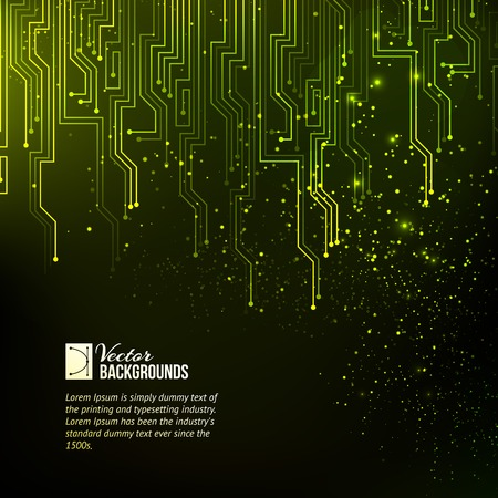 technology background: Abstract green lights background. Vector illustration.