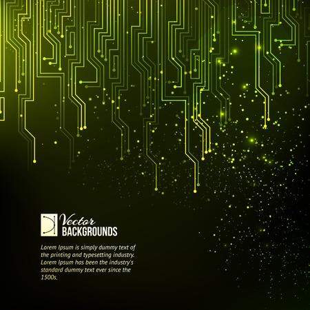 technológia: Absztrakt zöld fények háttér. Vektoros illusztráció.