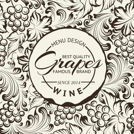 Wine list design layout on chalkboard. Vector illustration Vector