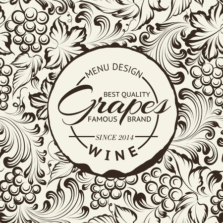 grapes wine: Wine list design layout on chalkboard. Vector illustration