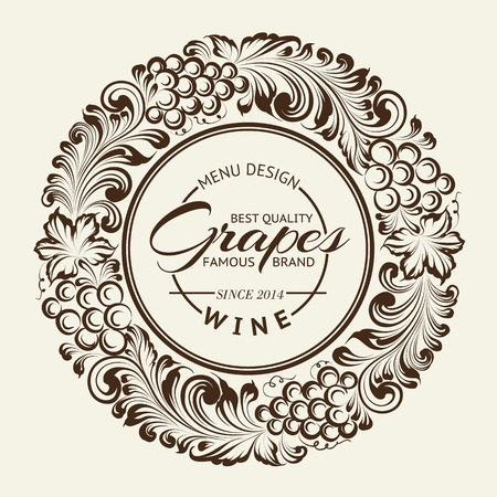 Vintage radial ornament over sepia. Vector illustration. Ilustrace