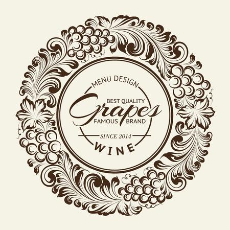 wine vineyards: Vintage radial ornament over sepia. Vector illustration. Illustration